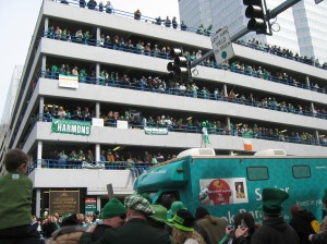 This photo is my own: downtown for the St. Patrick's Day Parade